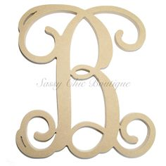 "Unfinished Wooden Single Monogram Uppercase ""B"" - Vine Font"