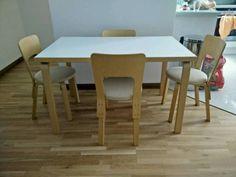 Ich verkaufe den Tisch 81B von Artek Vitra, ein Klassiker des modernen Designs, der im Jahr 1935 vom finnischen Architekten Alvar Aalto für die Bibliothek in Wiborg entworfen wurde. Das Material der Tischfüßen ist klar lackiertes Birkenschichtholz gebogen zum L-Form - eine Methode die Aalto im 30er experimentierte. Die Tischplatte ist mit weißer Laminatoberfläche, Stärke der Tischplatte 4cm. Größe (BxLxH) 75x120x72cm.Die Stühle sind genauso von Alvar Aalto im Jahr 1935 entworfen worden. Der…
