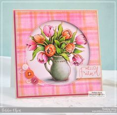 """Power Poppy Digital Digi Stamp Set featuring a bouquet of tulips in a hobnail pitcher, with two birthday sentiments. Includes, May you """"live all the days of your life"""", adapted from a quote by Jonathan Swift. This illustration is by Marcella Hawley."""