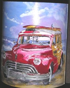 Etched and handpainted 3 Liter wine bottle by Candice Norcross for a private client who's a car collector.