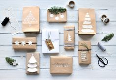 Tutorial for 9 DIY beautiful gift wrapping ideas using packaging paper and other simple materials like washi tape, bakers twine and old book pages. - Upcycling christmas wrapping Geschenke in Packpapier verpacken – miss red fox Christmas Sweets, Christmas Gift Wrapping, Xmas Gifts, Christmas Tree Decorations, Craft Gifts, Diy Gifts, Christmas Crafts, Christmas Items, Christmas Presents