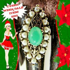 Need that Special Gift for Her this Holiday Season? Don't miss out on our special Cyber Week Sale Item! Fine Antique 10k Victorian Jade &Pearl Ring! Message me to take advantage of this huge advertised discount price!