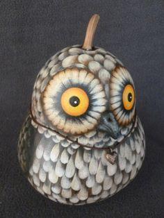 "Owl Gourd ""Vito"" by POPLARHOLLOWSTUDIO on Etsy https://www.etsy.com/listing/266441627/owl-gourd-vito"