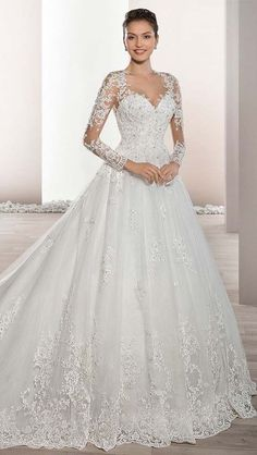 neckline and elegant sheer sleeves with lace