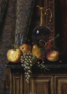 still life with fruit and claret; 1881; harnett; 21x29.5; 150