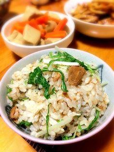 混ぜただけ(´-`) - 7件のもぐもぐ - はごろも煮と水菜の混ぜご飯 by harukonasu