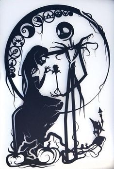 bec31f9ea05 Nightmare Before Christmas Silhouette Handcut Paper Craft AAC