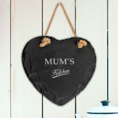 Personalised Rustic Slate Heart - My Kitchen