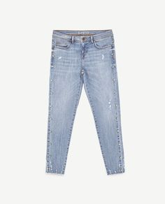 Image 8 of JEANS WITH FAUX PEARL TRIMS from Zara