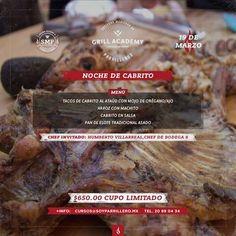 """""""Noche de cabrito""""  Menú: -Tacos de cabrito al ataúd con mojo de orégano/ ajo -Arroz con machito -Cabrito en salsa -Pan de elote tradicional asado  Fecha: Jueves 19 de marzo 2015 Horario: 8:00 p. m. a 11:00 p. m. Lugar: SMP (Isaac Garza #1524 centro, Monterrey, N. L. entre Miguel Nieto y Ramón Corona) Precio: $650.00 por persona (incluye todos los ingredientes, agua, refrescos, dos cervezas y promociones en la tienda)"""