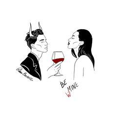Be mine Be wine Art Print / St. Valentines / Devil Demon Satan Lovers Couple / Witchy Dark Romance Gothic Art / Greeting Love Card : Be mine Be wine Art Print / St. Valentines / Devil Demon Satan Lovers Couple / Witchy Dark Romance G Dark Art Drawings, Easy Drawings, Satan Drawing, Art Du Vin, Dark Romance, Art Amour, Arte Hip Hop, Wine Art, Goth Art