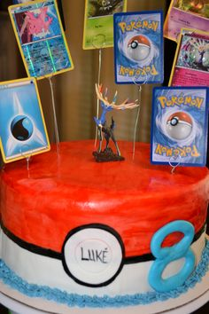 Pokemon Birthday Cake with Trading cards