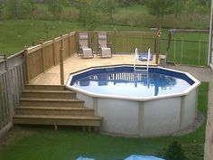 Swiming Pools Above Ground Pool Deck Plans Oval With Hand Rails Also Stainless Pool Loungers And Wooden Fence Design Besides Above Groun Steps  In Ground Ladders  Above Ground Pool Deck  Outdoor Swings   Above Ground Pool Deck Ideas