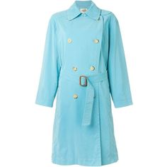Hermès Vintage Trench Coat ($734) ❤ liked on Polyvore featuring outerwear, coats, blue, trench coat, vintage, hermès, blue coat, double breasted trench coat and vintage coat