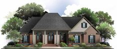 This Country House Plan includes 3 bedrooms / 2 baths in 2100 sq ft of living space.  Its open floorplan layout is flexible and is ideal for your growing family.  Best of all, its designed to be affordable to build and includes all of the most popular features you're looking for in your next home design.    #houseplan #dreamhome #HPG-21002 #HousePlanGallery #houseplans Acadian Homes, Acadian House Plans, New House Plans, Brick Siding, French Country Bedrooms, Bedroom Country, Country Style House Plans, Bedroom House Plans, Traditional House