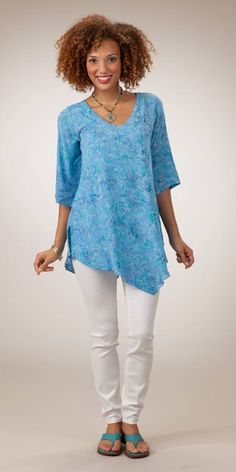 Last Ones Size Sm & M - Lost River Tunics for Women - Flattering Rayon Tunic Top in Sea Jewel - 39.50