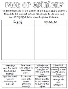 Printables Fact Vs Opinion Worksheets fact vs opinion worksheet google search social studies my kiddos are having some trouble with and this year i admit