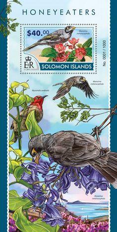 Post stamp Solomon Islands SLM 15309 bHoneyeaters (Manorina melanocephala)