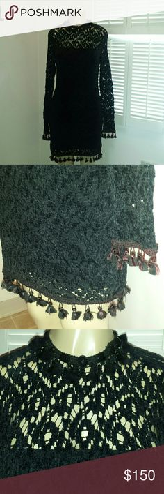 VINTAGE DANA Deatherage gothic  sexy black dress This dress rocks!!!!  2 pc. Has tassels and beads like on neck  area. Tassels also on sleeves and hem of dress. Has some burgundy in tassles. So gothic!! One of a kind. Can fit medium. Won't find a dress like this anywhere. Dana Deatherage Dresses