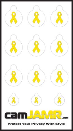 The camJAMR Troops Pack, displaying the classic Yellow Ribbon is in support of America's bravest heroes. One dollar of every sale will be donated to Support Our Troops®. Price: $4.99  camJAMR webcam covers are removable, reusable, durable and safe.  Protect Your Privacy With Style!
