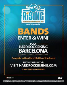 The LARGEST Global Battle of the Bands is back. Register now at http://www.hardrockrising.com/ . Top 3 Bands with the highest votes will battle at Hard Rock Cafe Penang.