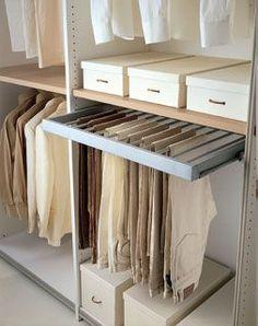 Another pants rack Wardrobe Design Bedroom, Master Bedroom Closet, Bedroom Wardrobe, Gold Bedroom, Diy Bedroom, Bedroom Ideas, Bedroom Cupboards, Bedroom Cupboard Designs, Walk In Closet Design