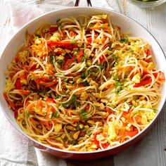 This is a simple pad thai loaded with crisp vegetables and zesty flavor. It's quick, simple, and fresh-tasting. —Colleen Doucette, Truro, Nova Scotia Vegetarian Pad Thai, Vegetarian Dinners, Vegetarian Recipes, Cooking Recipes, Healthy Dinners, Easy Meals, Thai Recipes, Veggie Recipes, Asian Recipes