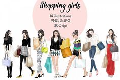 Shopping girls watercolour fashion illustration clipart