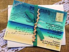 Προσκλητήριο γάμου vintage καρτ ποστάλ με θαλασσινό θέμα