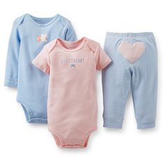 "Carter's Girls 3 Piece ""Sweetheart"" Set with Short Sleeve Bodysuit, Long Sleeve Bodysuit, and Pant with Applique - Carters - Babies ""R"" Us"
