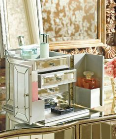 A luxurious way to organize cosmetics, fragrance, and jewelry.