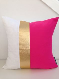 "Decorative Throw Pillow Cover 20""x20"" Square Cushion Hot Pink Vintage Fabric Color Blocked Gold Metallic Textured Faux Leather White Linen"