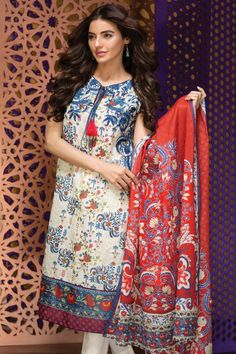 Khaadi Eid Lawn Collection Unstitched 2 Piece Suit M16307 A in Beige. #LawnCollection #EidCollection2016