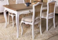 juego comedor antiguo laqueado blanco - Buscar con Google French Furniture, Revamp Furniture, Dining Room Furniture Collections, French Country Dining Set, Home Deco, Interior Deco, Dinning Chairs, Dining Room Inspiration, Furniture