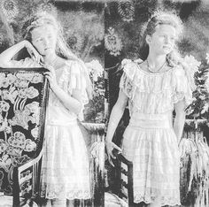 Grand Duchesses Olga and Tatiana Nikolaevna of Russia the eldest children of Emperor Nicholas II and Empress Alexandra Feodorovna of Russia posing for a Spring 1906 formal photo session. by historyofromanovs