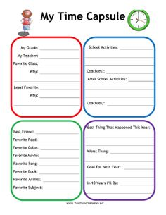 ... school with this printable time capsule worksheet. Free to download
