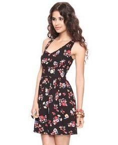 Forever 21 Black Twill Flower Dress