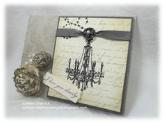 Shabby chandelier card, handmade flowers. Inkadinkado chandelier, Stampin' Up! Bella Toile background, Anna Griffin sentiment, Hero Arts script.