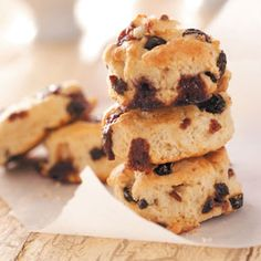 "This creative recipe features raisins and homemade cinnamon ""chips"" to produce rich, mouthwatering scones."