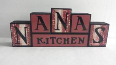 Wood Block Sign  Nanas Kitchen  Maroon by ForeverYoursCreation