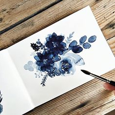 Indigo Aquarell Blumenmalerei Kate Schuette, – Malerei Kunst Source by brigittesroka Watercolor Flowers, Watercolor Paintings, Painting Flowers, Drawing Flowers, Flower Drawings, Watercolors, Arte Sketchbook, Aesthetic Drawing, Aesthetic Tattoo