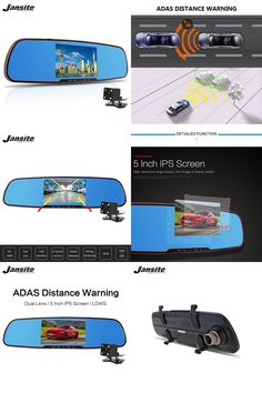 "[Visit to Buy] 2017 Newest 5.0"" Car Camera Review Mirror Dvr With LDWS ADAS Detector Digital Video Recorder Dual Lens FHD1080P car dvrs Dashcam #Advertisement"