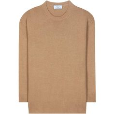 Prada Wool and Cashmere Sweater (£505) ❤ liked on Polyvore featuring tops, sweaters, brown, cashmere sweater, cashmere tops, wool cashmere sweater, brown sweater and beige sweater
