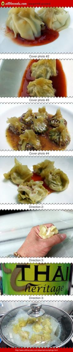"""Steamed Dumplings! 5.00 stars, 8 reviews. """"MY ORIENTAL TEA TIME   SOMETHING LIGHT FOR THE DINNER AS ALWAYS WITH SWEET THAI CHILI SAUCE  LOVING IT"""" @allthecooks #recipe #chinese #dumplings #easy #appetizer #hot"""