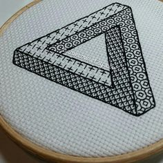 Impossible triangle - *digital pattern* Embroidery /cross stitch pattern, blackwork, redwork, optical illusion, escher from BaaMeow on Etsy Studio