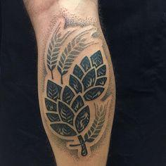 Hops and barley beer tattoo