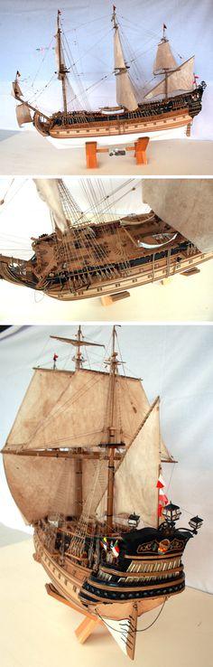SALE SHIP MODEL - Made by Paolo Conti - 2012 - SAN FELIPE 1690 - SPANISH VASSEL - Scale 1:85 on 1958 original plan. Totally hand made in wood and recycle materials.   Description (Italian): È uno dei più ricchi e bei vascelli spagnoli costruiti tra il 1600 e il 1700. Era armato con 108 pezzi d'artiglieria. Aveva una superficie velica di ben 2900 metri quadri.    mailto:imho.work@gmail.com #model, #ship, #handmade, #craft, #ships, #homecraft, #sale, #modellism, #craft
