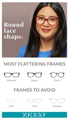 Round Face Glasses Frames, Eyeglasses For Women Round Face, Frames For Round Faces, Glasses For Face Shape, Sunglasses For Your Face Shape, Round Face Sunglasses, Best Eyeglasses, Womens Glasses Frames, Cute Glasses