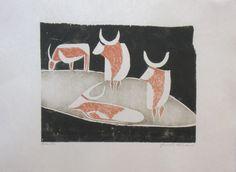 """Weide"" / Kühe /  in ""Die Schaffenden"" - holzschnitt 1928 - Ewald Wilhelm Hubert Mataré, 1887-1965 Deutschland Moose Art, Flag, Art Prints, Country, Logos, Printmaking, Sculpture, Naturaleza, Animaux"