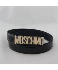 Moschino Gold MOSCHINO Large Leather Belts Black